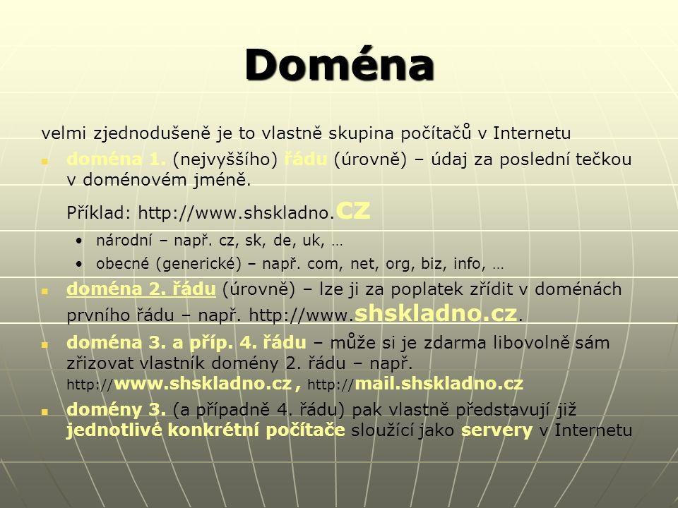 URL Uniform Resource Locator (jednotný adresovač zdrojů) údaj jednoznačně identifikující konkrétní webovou stránku v Internetu, neboli úplná adresa určité konkrétní webové stránky Př: https://www.shs.isdata.cz/webznamky/login.aspxhttps://www.shs.isdata.cz/webznamky/login.aspx : Obsahuje: protokol (soubor pravidel pro přenos dat – typicky http, případně https, ftp, …)protokol (soubor pravidel pro přenos dat – typicky http, případně https, ftp, …) doménu (3.