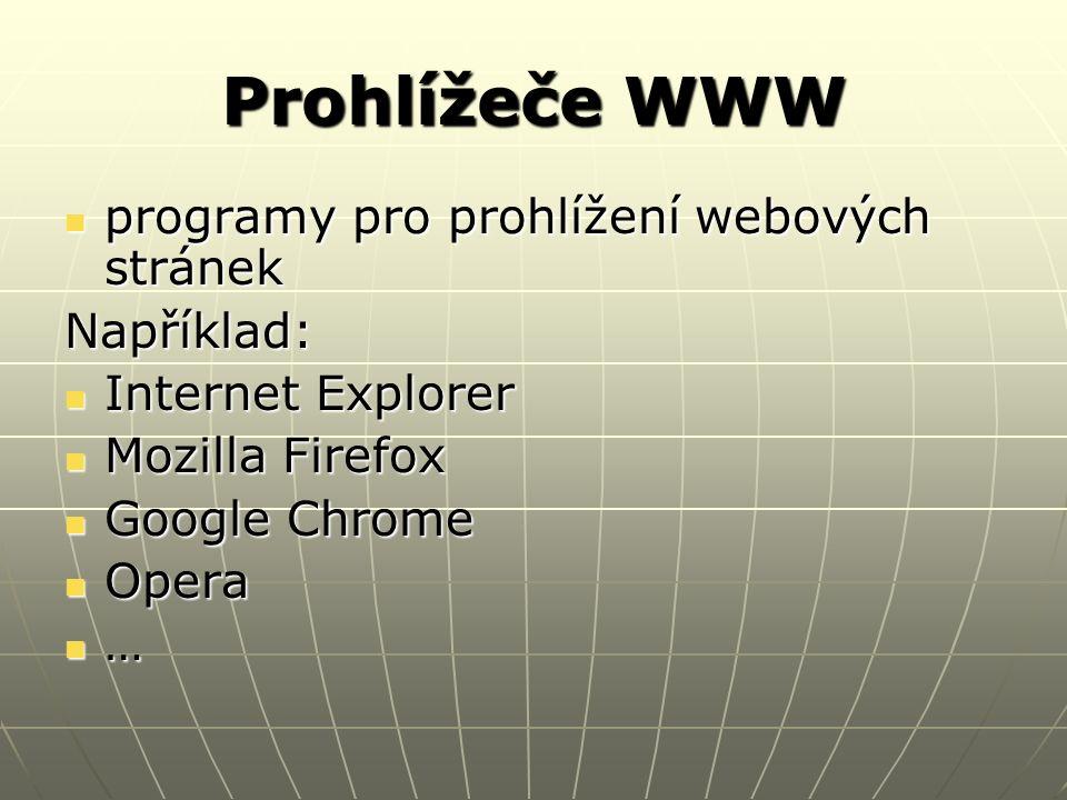 Prohlížeče WWW programy pro prohlížení webových stránek programy pro prohlížení webových stránekNapříklad: Internet Explorer Internet Explorer Mozilla Firefox Mozilla Firefox Google Chrome Google Chrome Opera Opera …