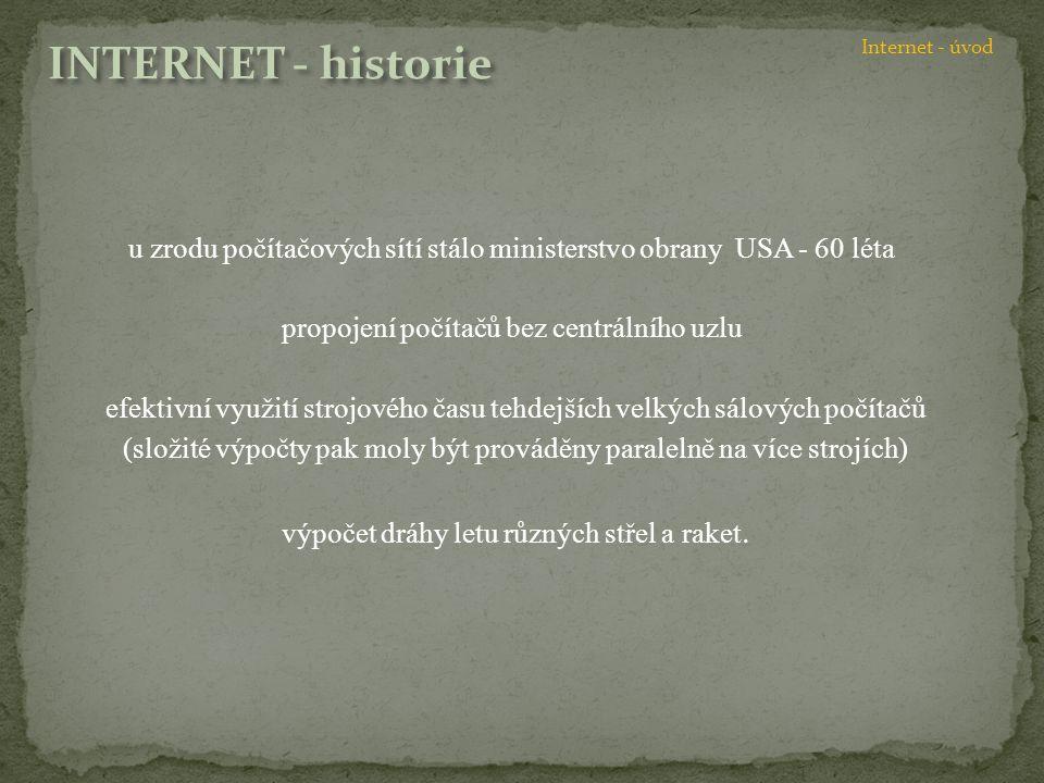 vojenská zakázka na síť, jejímž cílem posléze nebyly již pouze výpočty, ale též komunikace a řízení, realizovaly některé americké univerzity - název ARPA Net výsledek mohly užívat nejen univerzity, ale zároveň vzdělávací a nekomerční instituce na celém světě kromě přenosu souborů s programy a daty, byla jednou z prvních všeobecně rozšířených aplikací internetu též elektronická pošta dovolující zasílání zpráv mezi všemi uživateli propojených počítačů.