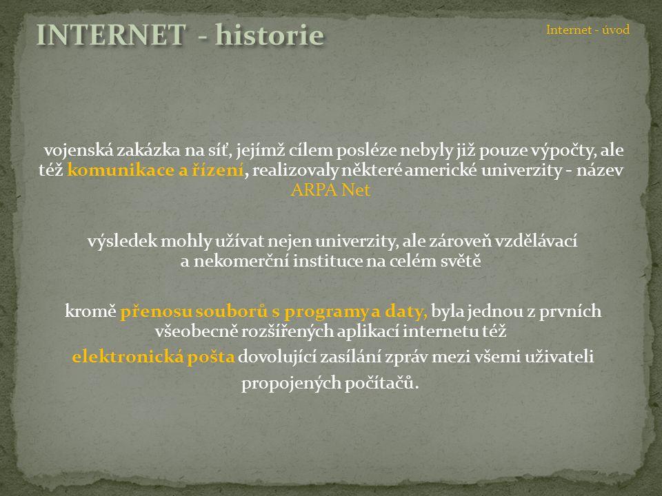 vojenská zakázka na síť, jejímž cílem posléze nebyly již pouze výpočty, ale též komunikace a řízení, realizovaly některé americké univerzity - název A