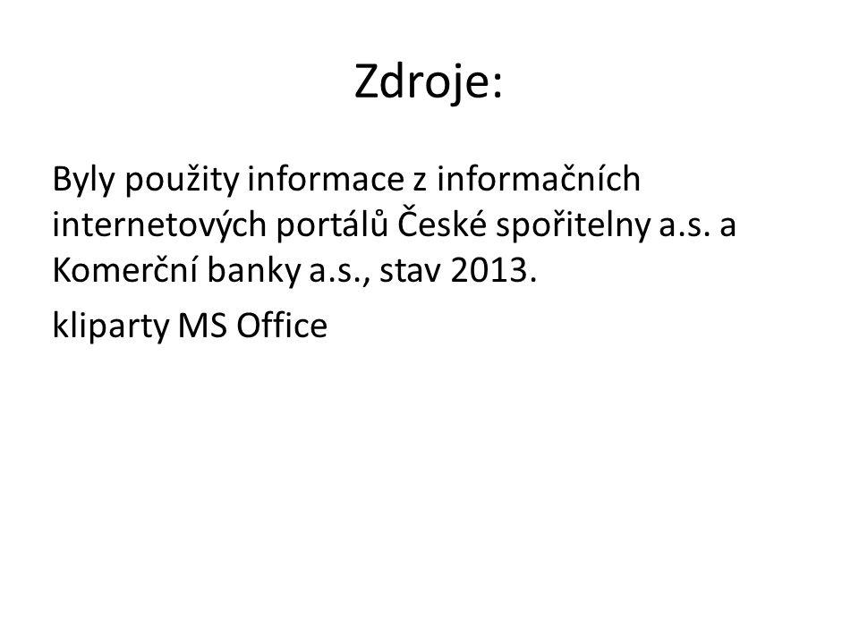 Zdroje: Byly použity informace z informačních internetových portálů České spořitelny a.s.
