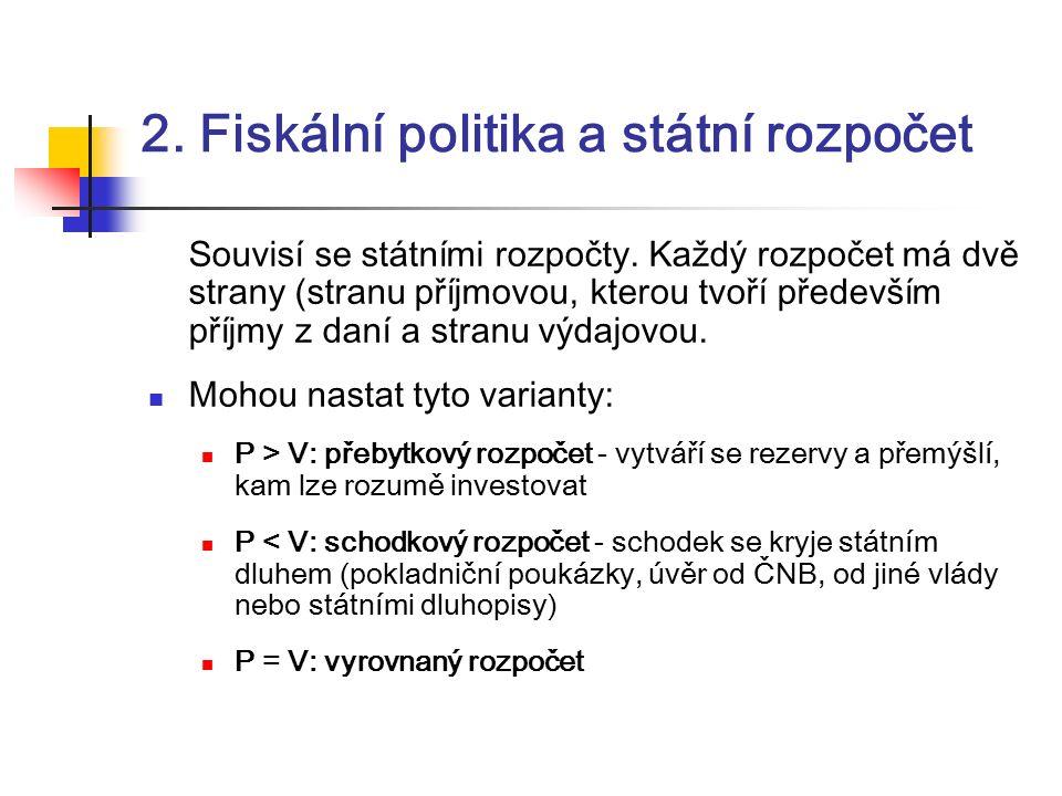 2. Fiskální politika a státní rozpočet Souvisí se státními rozpočty.