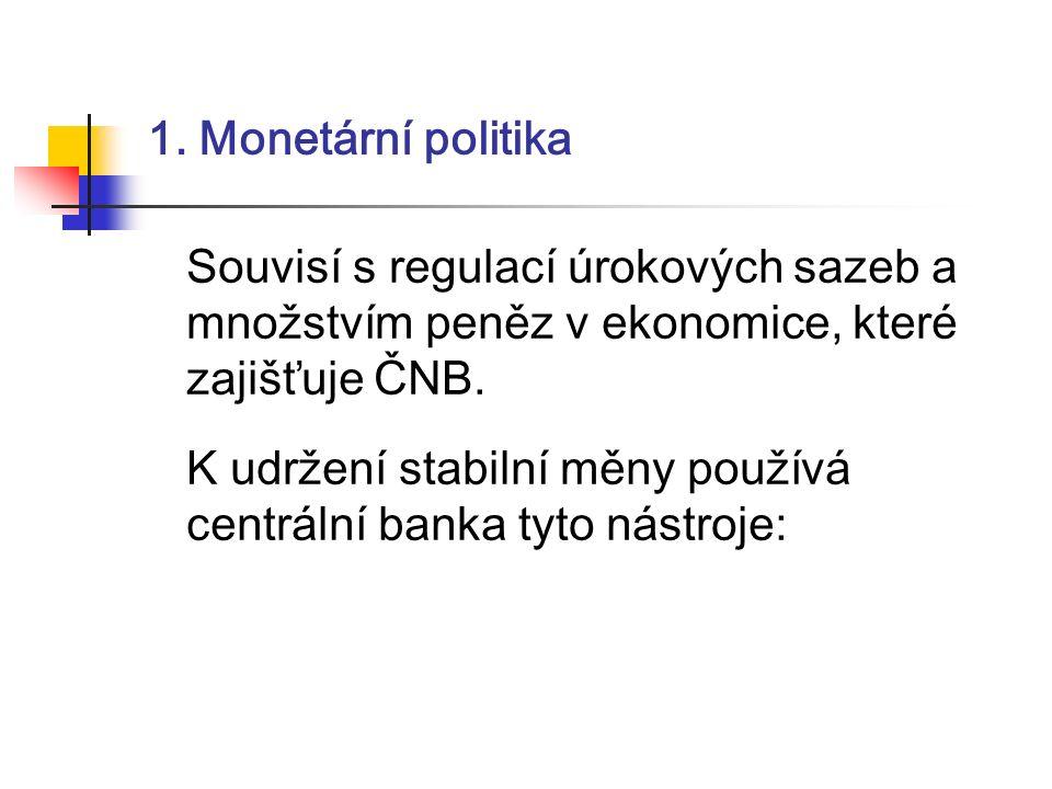 1. Monetární politika Souvisí s regulací úrokových sazeb a množstvím peněz v ekonomice, které zajišťuje ČNB. K udržení stabilní měny používá centrální