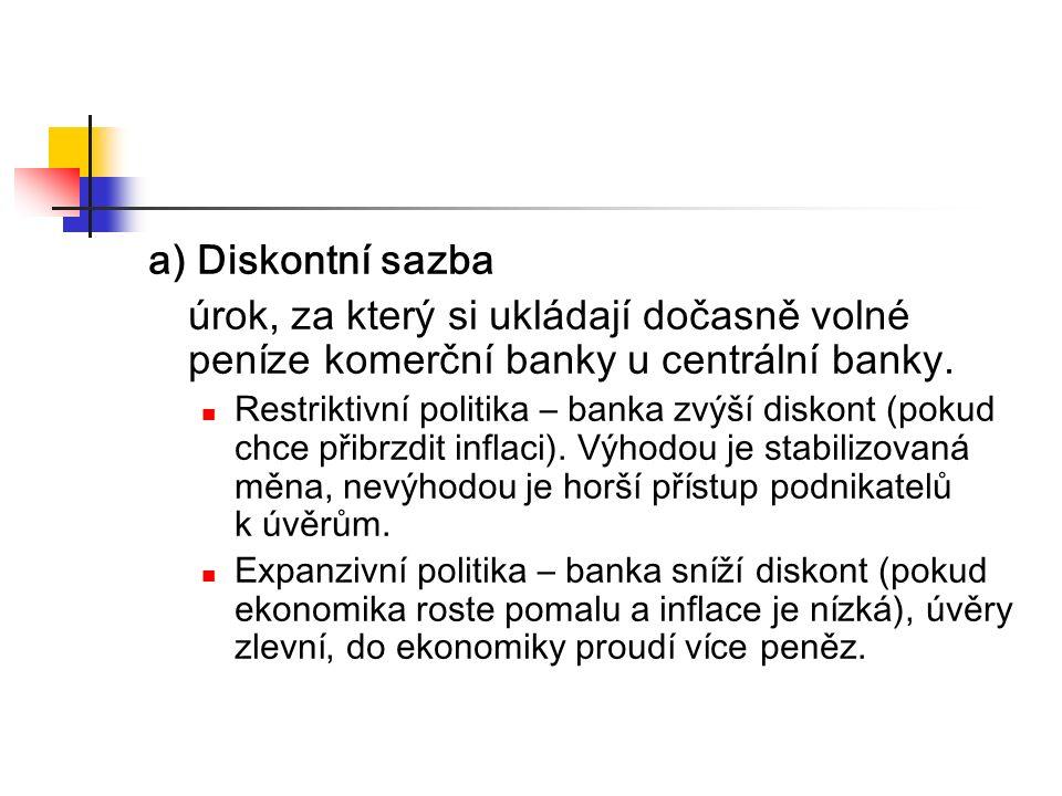 a) Diskontní sazba úrok, za který si ukládají dočasně volné peníze komerční banky u centrální banky.