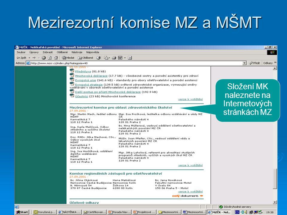 Mezirezortní komise MZ a MŠMT Složení MK naleznete na Internetových stránkách MZ