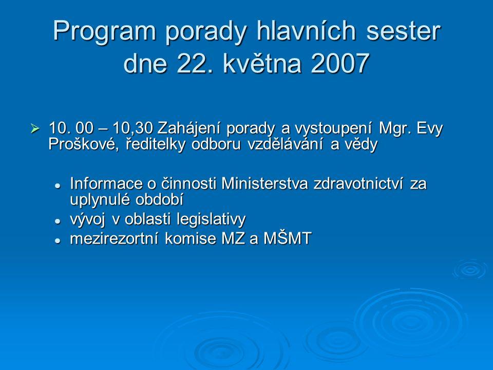 Program porady hlavních sester dne 22.května 2007  10,30 – 11,00 Vystoupení Bc.