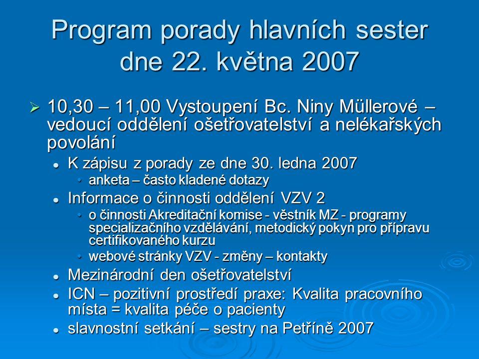 Změny na Internetových stránkách www.mzcr.cz/odborná veřejnost/nelékařská povolání www.mzcr.cz/odborná veřejnost/nelékařská povolání www.mzcr.cz/odborná www.mzcr.cz/odborná RegistraceRegistrace AkreditaceAkreditace Kontakty na profesní organizace – aktualizace 6.3.2007 Kontakty na profesní organizace – aktualizace 6.3.2007 Porady – termíny, program, zápis Porady – termíny, program, zápis Archiv – návrh na nové řešeníArchiv – návrh na nové řešení Přehled kvalifikačních vzdělávacích programů, kterým bylo vydáno souhlasné stanovisko MZ Přehled kvalifikačních vzdělávacích programů, kterým bylo vydáno souhlasné stanovisko MZ Projekty IGA Projekty IGA Využití kapitoly určené pro rozvoj ošetřovatelstvíVyužití kapitoly určené pro rozvoj ošetřovatelství