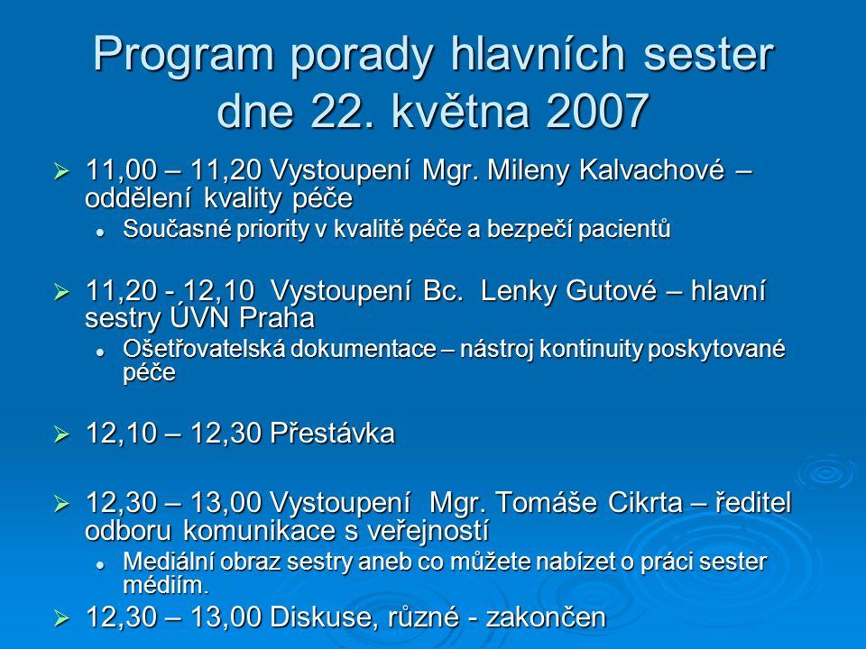 Program porady hlavních sester dne 22. května 2007  11,00 – 11,20 Vystoupení Mgr.