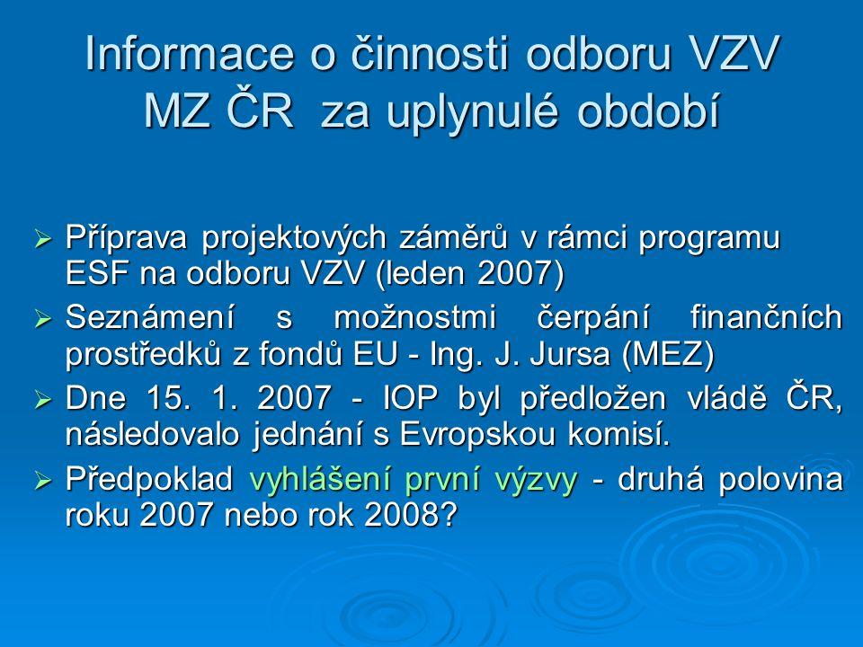 Informace o činnosti odboru VZV MZ ČR za uplynulé období  Příprava projektových záměrů v rámci programu ESF na odboru VZV (leden 2007)  Seznámení s možnostmi čerpání finančních prostředků z fondů EU - Ing.