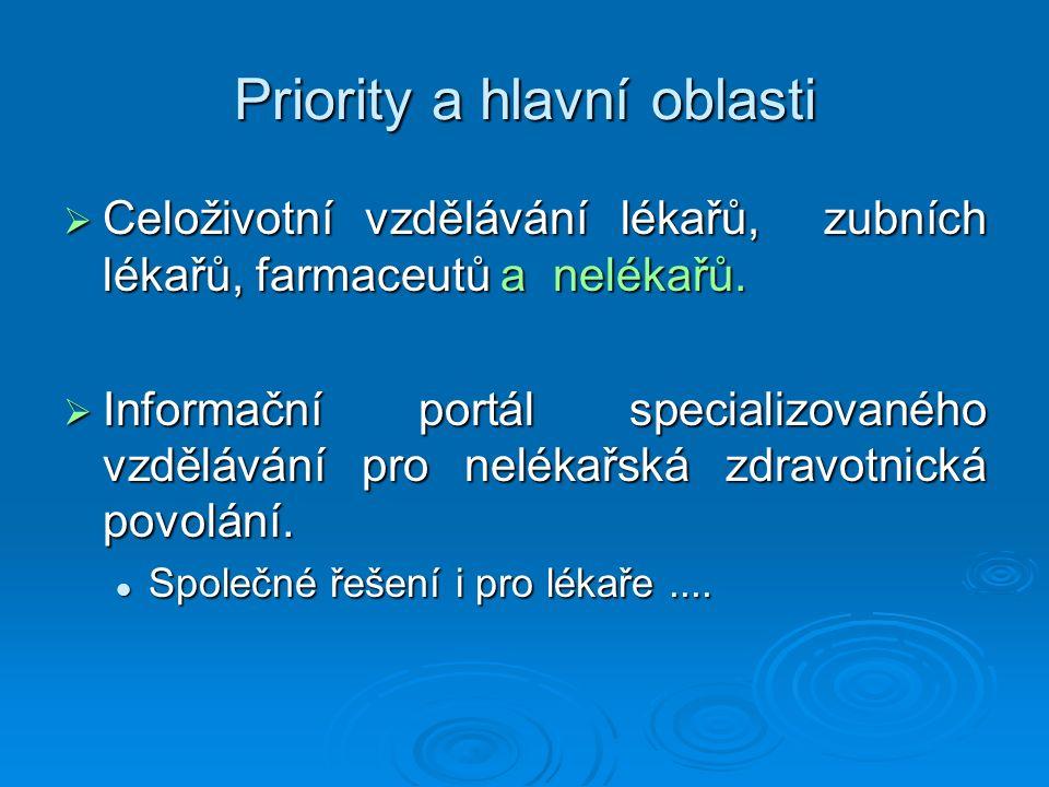 Priority a hlavní oblasti  Celoživotní vzdělávání lékařů, zubních lékařů, farmaceutů a nelékařů.