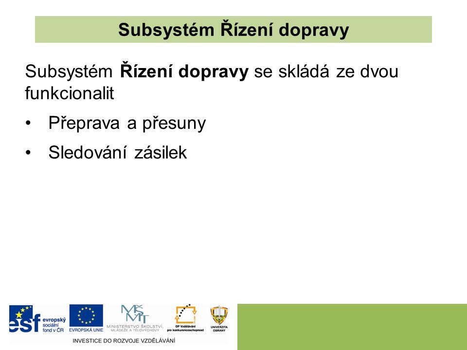 Subsystém Řízení dopravy Subsystém Řízení dopravy se skládá ze dvou funkcionalit Přeprava a přesuny Sledování zásilek