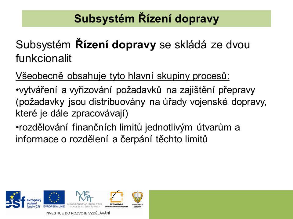Subsystém Řízení dopravy Subsystém Řízení dopravy se skládá ze dvou funkcionalit Všeobecně obsahuje tyto hlavní skupiny procesů: vytváření a vyřizován