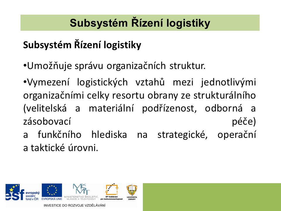 Subsystém Řízení logistiky Umožňuje správu organizačních struktur. Vymezení logistických vztahů mezi jednotlivými organizačními celky resortu obrany z