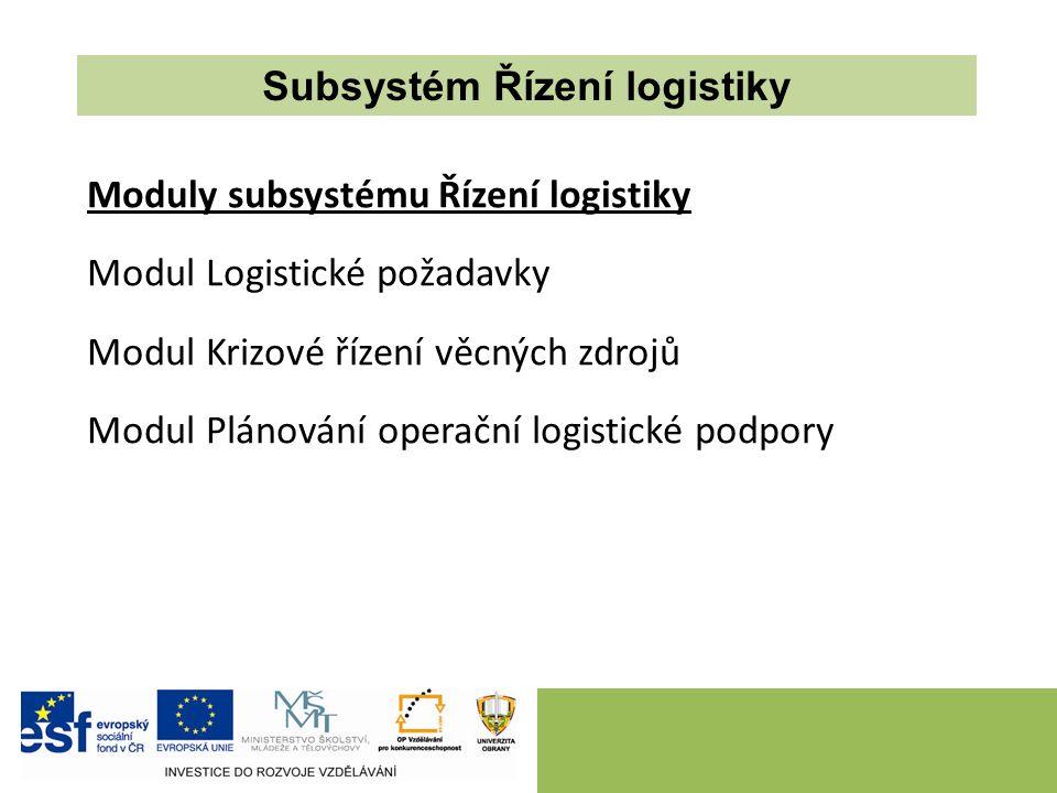 Moduly subsystému Řízení logistiky Modul Logistické požadavky Modul Krizové řízení věcných zdrojů Modul Plánování operační logistické podpory Subsystém Řízení logistiky