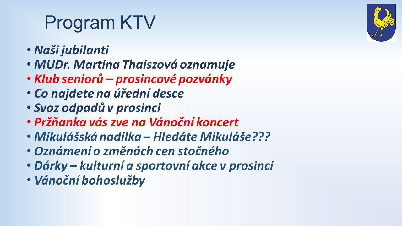 Program KTV Naši jubilanti MUDr.
