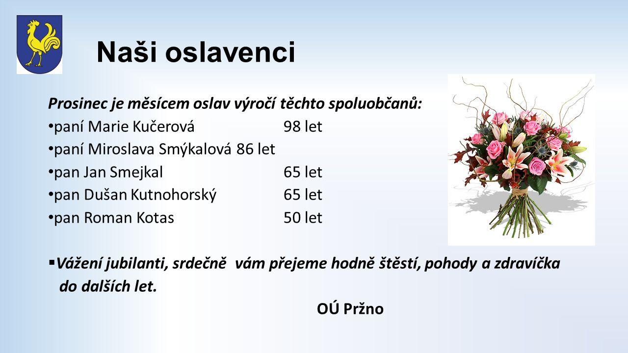 Naši oslavenci Prosinec je měsícem oslav výročí těchto spoluobčanů: paní Marie Kučerová98 let paní Miroslava Smýkalová86 let pan Jan Smejkal65 let pan