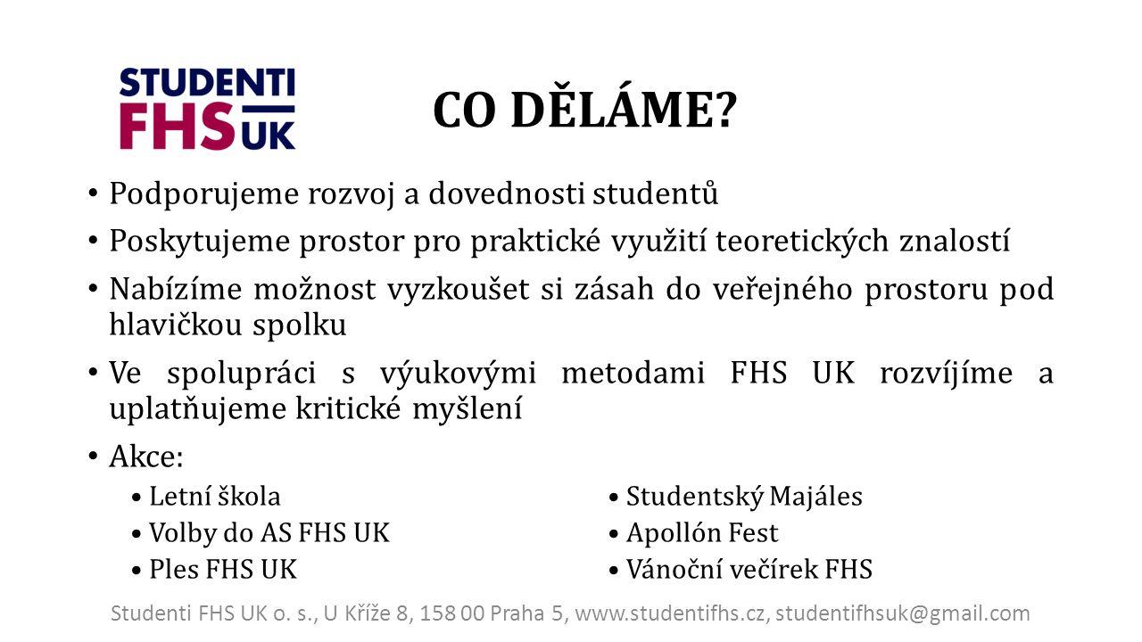Podporujeme rozvoj a dovednosti studentů Poskytujeme prostor pro praktické využití teoretických znalostí Nabízíme možnost vyzkoušet si zásah do veřejného prostoru pod hlavičkou spolku Ve spolupráci s výukovými metodami FHS UK rozvíjíme a uplatňujeme kritické myšlení Akce: Letní škola Studentský Majáles Volby do AS FHS UK Apollón Fest Ples FHS UK Vánoční večírek FHS CO DĚLÁME.