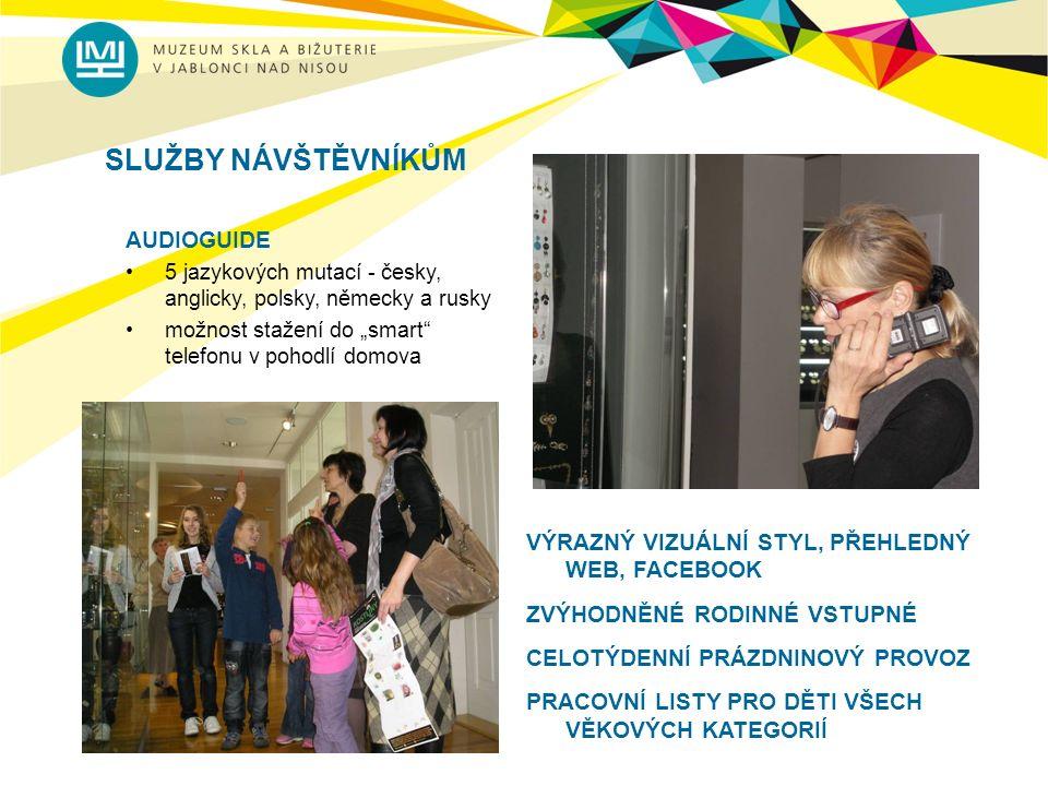 """SLUŽBY NÁVŠTĚVNÍKŮM AUDIOGUIDE 5 jazykových mutací - česky, anglicky, polsky, německy a rusky možnost stažení do """"smart telefonu v pohodlí domova VÝRAZNÝ VIZUÁLNÍ STYL, PŘEHLEDNÝ WEB, FACEBOOK ZVÝHODNĚNÉ RODINNÉ VSTUPNÉ CELOTÝDENNÍ PRÁZDNINOVÝ PROVOZ PRACOVNÍ LISTY PRO DĚTI VŠECH VĚKOVÝCH KATEGORIÍ"""