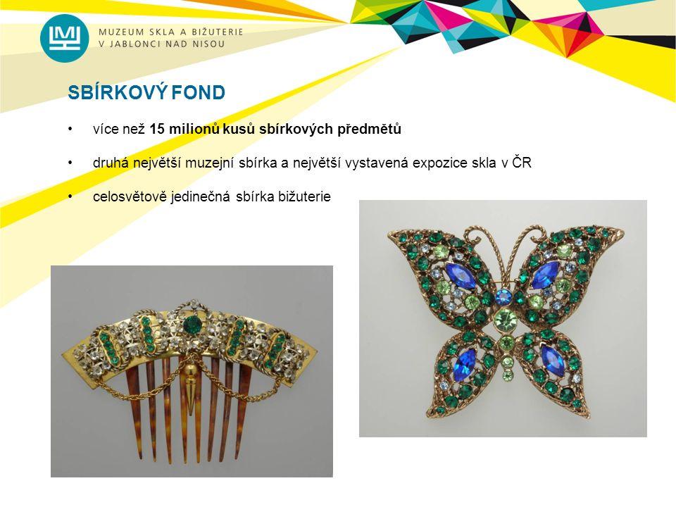 SBÍRKOVÝ FOND více než 15 milionů kusů sbírkových předmětů druhá největší muzejní sbírka a největší vystavená expozice skla v ČR celosvětově jedinečná sbírka bižuterie