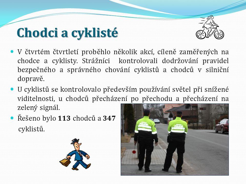 Chodci a cyklisté V čtvrtém čtvrtletí proběhlo několik akcí, cíleně zaměřených na chodce a cyklisty. Strážníci kontrolovali dodržování pravidel bezpeč