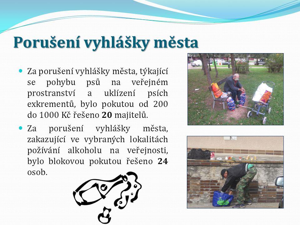 Porušení vyhlášky města Za porušení vyhlášky města, týkající se pohybu psů na veřejném prostranství a uklízení psích exkrementů, bylo pokutou od 200 do 1000 Kč řešeno 20 majitelů.