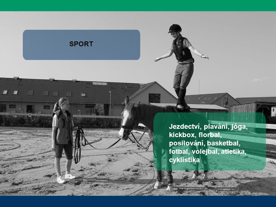 SPORT Jezdectví, plavání, jóga, kickbox, florbal, posilování, basketbal, fotbal, volejbal, atletika, cyklistika