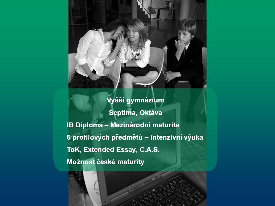 Vyšší gymnázium Septima, Oktáva IB Diploma – Mezinárodní maturita 6 profilových předmětů – intenzivní výuka ToK, Extended Essay, C.A.S.
