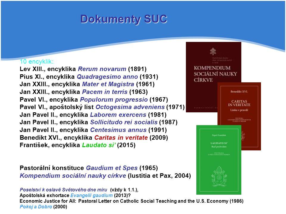 10 encyklik: Lev XIII., encyklika Rerum novarum (1891) Pius XI., encyklika Quadragesimo anno (1931) Jan XXIII., encyklika Mater et Magistra (1961) Jan XXIII., encyklika Pacem in terris (1963) Pavel VI., encyklika Populorum progressio (1967) Pavel VI., apoštolský list Octogesima adveniens (1971) Jan Pavel II., encyklika Laborem exercens (1981) Jan Pavel II., encyklika Sollicitudo rei socialis (1987) Jan Pavel II., encyklika Centesimus annus (1991) Benedikt XVI., encyklika Caritas in veritate (2009) František, encyklika Laudato si' (2015) Pastorální konstituce Gaudium et Spes (1965) Kompendium sociální nauky církve (Iustitia et Pax, 2004) Poselství k oslavě Světového dne míru (vždy k 1.1.), Apoštolská exhortace Evangelii gaudium (2013).
