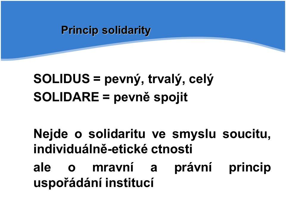 SOLIDUS = pevný, trvalý, celý SOLIDARE = pevně spojit Nejde o solidaritu ve smyslu soucitu, individuálně-etické ctnosti ale o mravní a právní princip uspořádání institucí Princip solidarity