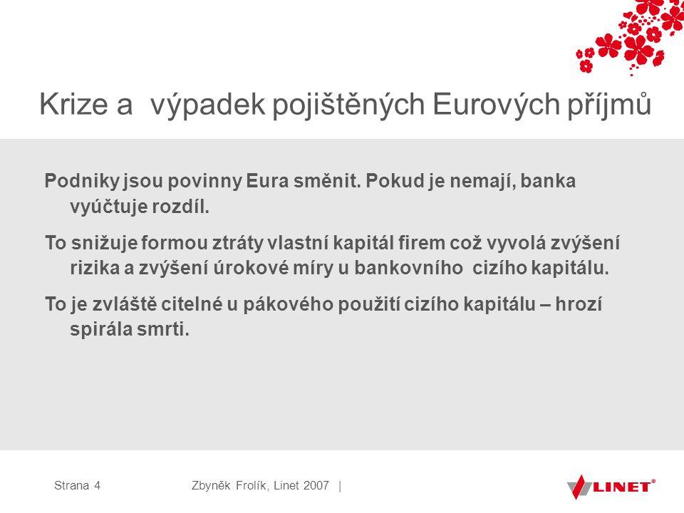 Zbyněk Frolík, Linet 2007 |Strana 4 Krize a výpadek pojištěných Eurových příjmů Podniky jsou povinny Eura směnit.