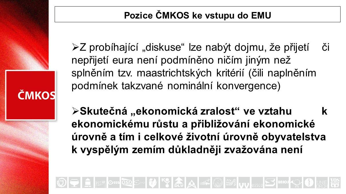 """Pozice ČMKOS ke vstupu do EMU  """"Automaticky se předpokládá, že zřejmé výhody společné měny, ke kterým lze přičíst hlavně odstranění kurzových rizik, převáží nad nevýhodami, spočívajícími ve ztrátě samostatné měnové politiky a přizpůsobovacího kurzového mechanismu  To nikdy nebyl a není názor ČMKOS."""