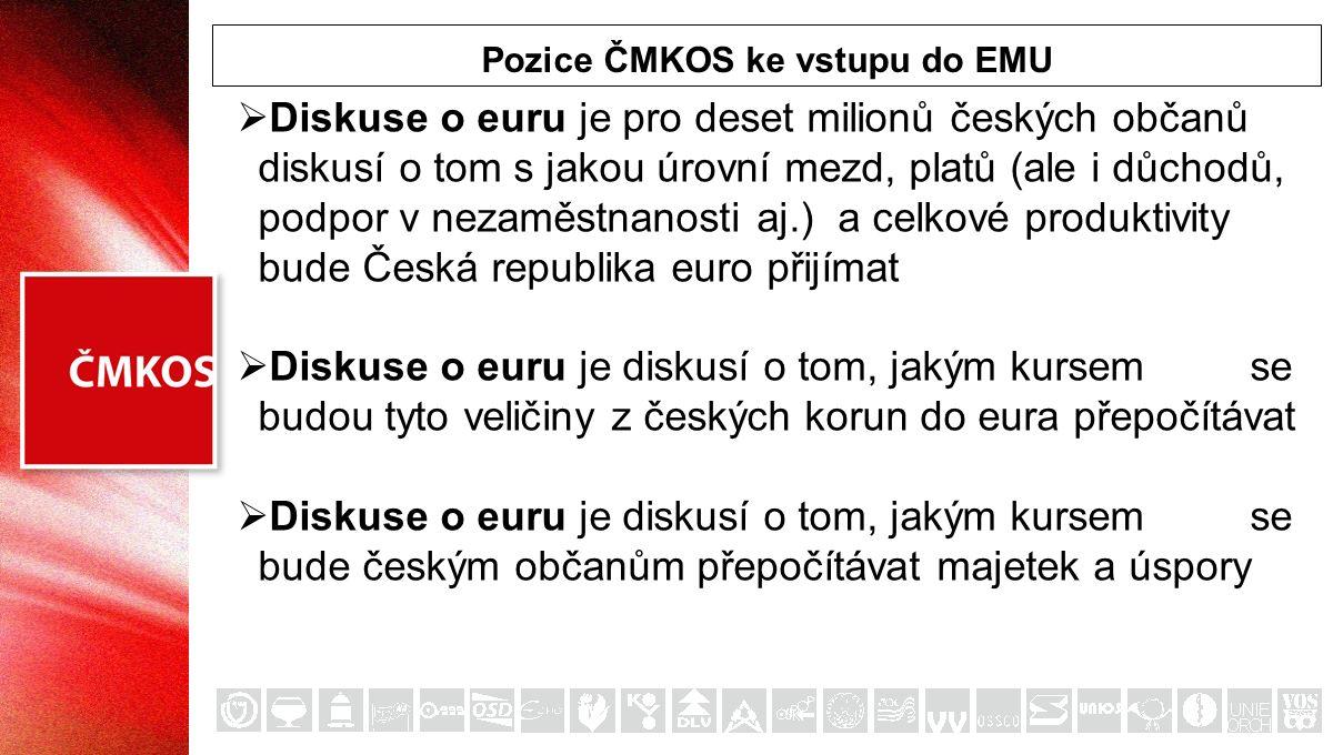 Pozice ČMKOS ke vstupu do EMU  Diskuse o euru je pro deset milionů českých občanů diskusí o tom s jakou úrovní mezd, platů (ale i důchodů, podpor v nezaměstnanosti aj.) a celkové produktivity bude Česká republika euro přijímat  Diskuse o euru je diskusí o tom, jakým kursem se budou tyto veličiny z českých korun do eura přepočítávat  Diskuse o euru je diskusí o tom, jakým kursem se bude českým občanům přepočítávat majetek a úspory