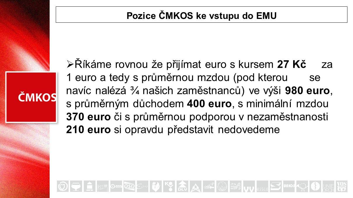 Pozice ČMKOS ke vstupu do EMU  Říkáme rovnou že přijímat euro s kursem 27 Kč za 1 euro a tedy s průměrnou mzdou (pod kterou se navíc nalézá ¾ našich