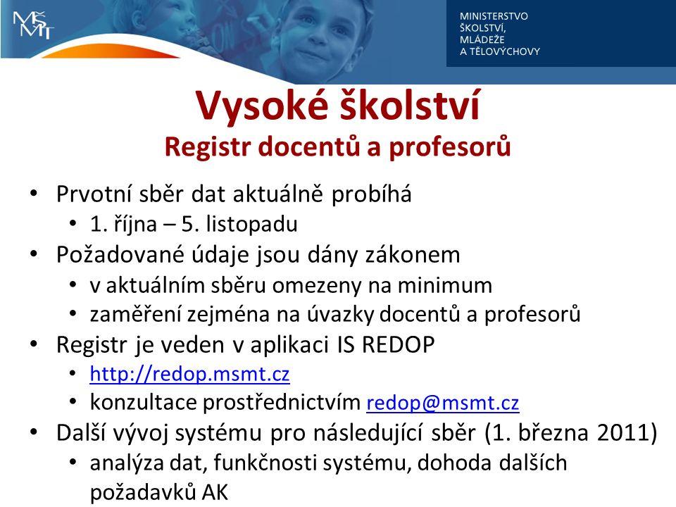Vysoké školství Registr docentů a profesorů Prvotní sběr dat aktuálně probíhá 1.