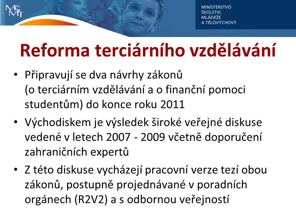 Reforma terciárního vzdělávání Připravují se dva návrhy zákonů (o terciárním vzdělávání a o finanční pomoci studentům) do konce roku 2011 Východiskem je výsledek široké veřejné diskuse vedené v letech 2007 - 2009 včetně doporučení zahraničních expertů Z této diskuse vycházejí pracovní verze tezí obou zákonů, postupně projednávané v poradních orgánech (R2V2) a s odbornou veřejností