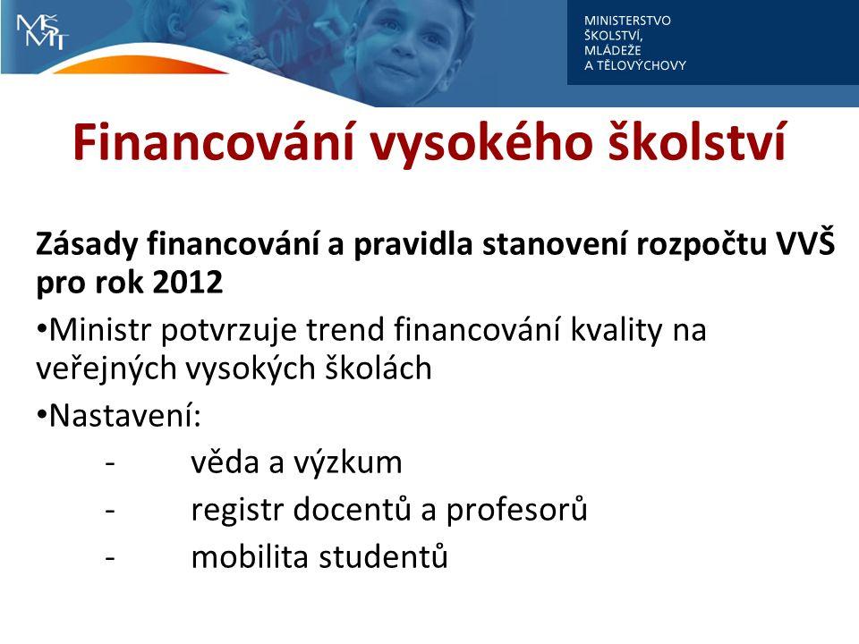 Financování vysokého školství Zásady financování a pravidla stanovení rozpočtu VVŠ pro rok 2012 Ministr potvrzuje trend financování kvality na veřejných vysokých školách Nastavení: -věda a výzkum -registr docentů a profesorů -mobilita studentů