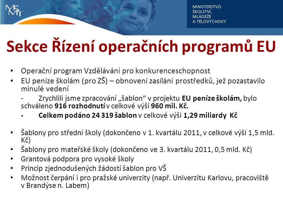 """Sekce Řízení operačních programů EU Operační program Vzdělávání pro konkurenceschopnost EU peníze školám (pro ZŠ) – obnovení zasílání prostředků, jež pozastavilo minulé vedení -Zrychlili jsme zpracování """"šablon v projektu EU peníze školám, bylo schváleno 916 rozhodnutí v celkové výši 960 mil."""