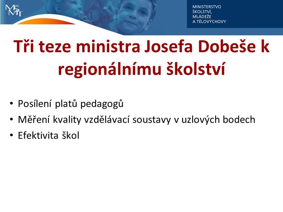 Tři teze ministra Josefa Dobeše k regionálnímu školství Posílení platů pedagogů Měření kvality vzdělávací soustavy v uzlových bodech Efektivita škol