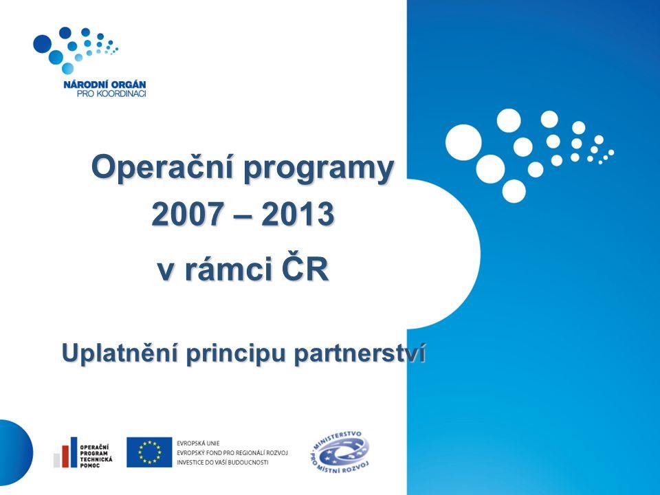 30 Operační programy 2007 – 2013 v rámci ČR Uplatnění principu partnerství