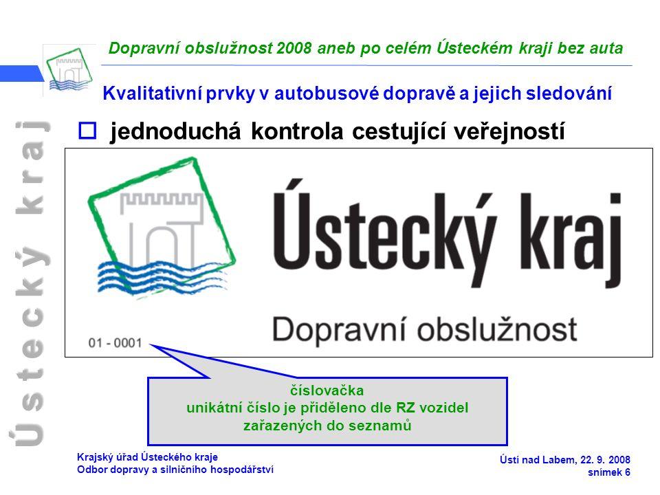 Ú s t e c k ý k r a j Dopravní obslužnost 2008 aneb po celém Ústeckém kraji bez auta Ústí nad Labem, 22.
