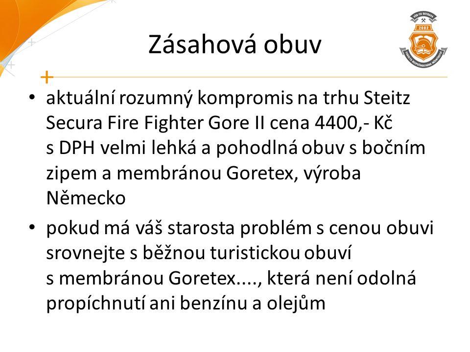 Zásahová obuv aktuální rozumný kompromis na trhu Steitz Secura Fire Fighter Gore II cena 4400,- Kč s DPH velmi lehká a pohodlná obuv s bočním zipem a