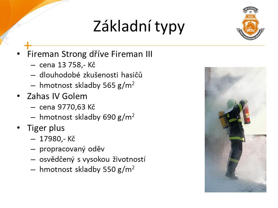 Základní typy Fireman Strong dříve Fireman III – cena 13 758,- Kč – dlouhodobé zkušenosti hasičů – hmotnost skladby 565 g/m 2 Zahas IV Golem – cena 97