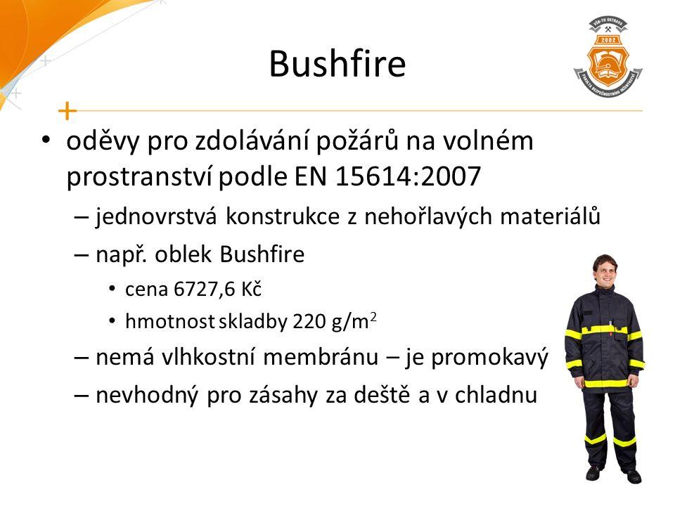Bushfire oděvy pro zdolávání požárů na volném prostranství podle EN 15614:2007 – jednovrstvá konstrukce z nehořlavých materiálů – např. oblek Bushfire