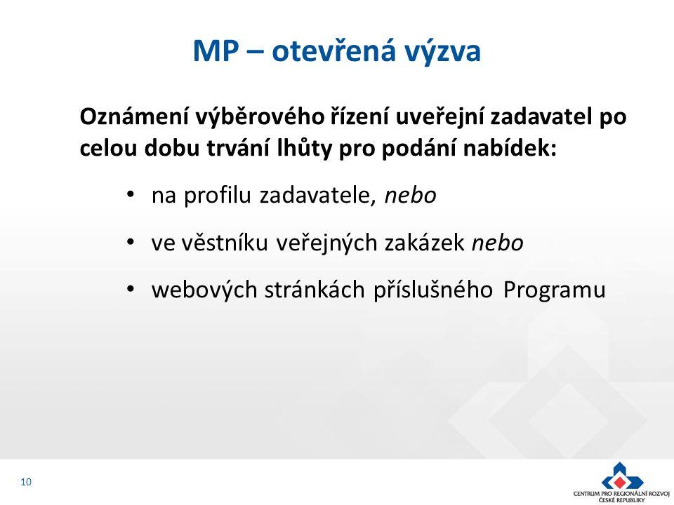 Oznámení výběrového řízení uveřejní zadavatel po celou dobu trvání lhůty pro podání nabídek: na profilu zadavatele, nebo ve věstníku veřejných zakázek nebo webových stránkách příslušného Programu MP – otevřená výzva 10