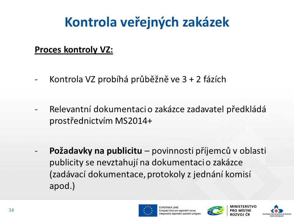 Proces kontroly VZ: ‐Kontrola VZ probíhá průběžně ve 3 + 2 fázích ‐Relevantní dokumentaci o zakázce zadavatel předkládá prostřednictvím MS2014+ ‐Požadavky na publicitu – povinnosti příjemců v oblasti publicity se nevztahují na dokumentaci o zakázce (zadávací dokumentace, protokoly z jednání komisí apod.) Kontrola veřejných zakázek 14