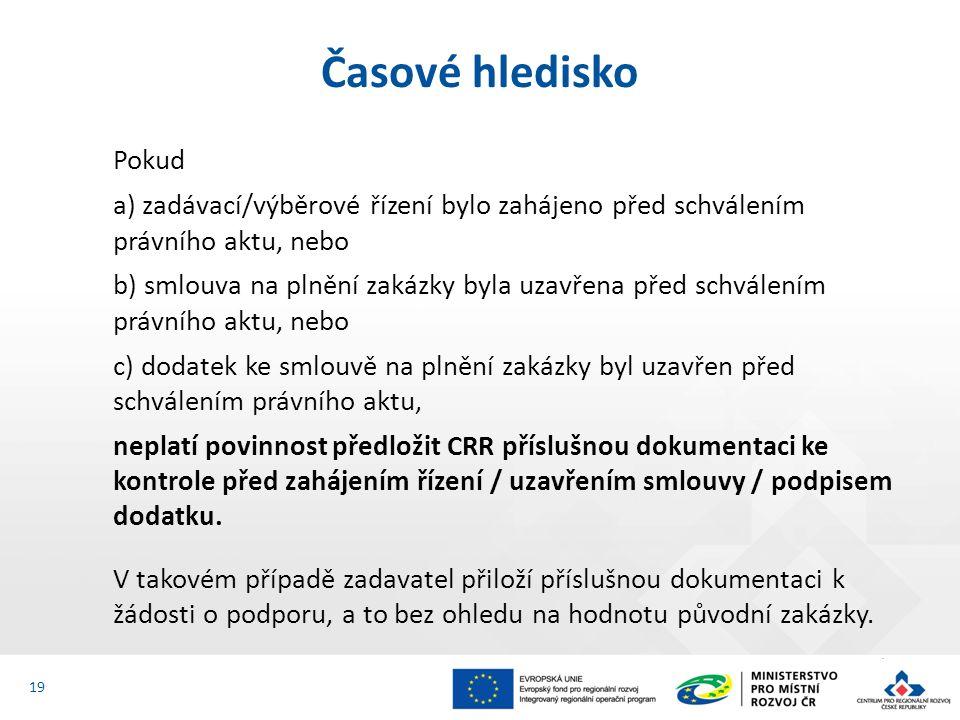 Pokud a) zadávací/výběrové řízení bylo zahájeno před schválením právního aktu, nebo b) smlouva na plnění zakázky byla uzavřena před schválením právního aktu, nebo c) dodatek ke smlouvě na plnění zakázky byl uzavřen před schválením právního aktu, neplatí povinnost předložit CRR příslušnou dokumentaci ke kontrole před zahájením řízení / uzavřením smlouvy / podpisem dodatku.