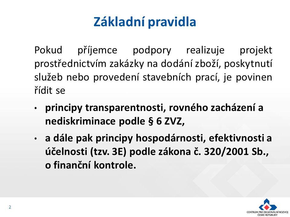 Pokud příjemce podpory realizuje projekt prostřednictvím zakázky na dodání zboží, poskytnutí služeb nebo provedení stavebních prací, je povinen řídit se principy transparentnosti, rovného zacházení a nediskriminace podle § 6 ZVZ, a dále pak principy hospodárnosti, efektivnosti a účelnosti (tzv.
