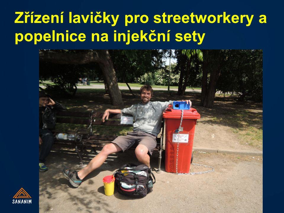 Zřízení lavičky pro streetworkery a popelnice na injekční sety