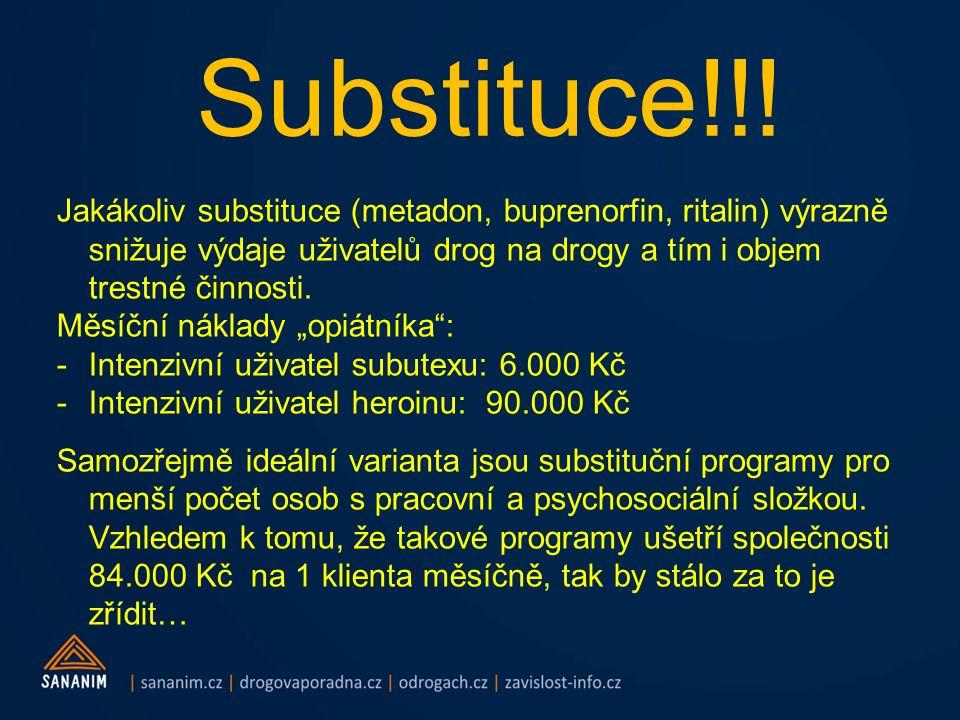 Substituce!!! Jakákoliv substituce (metadon, buprenorfin, ritalin) výrazně snižuje výdaje uživatelů drog na drogy a tím i objem trestné činnosti. Měsí