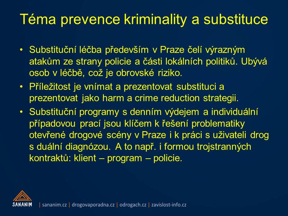 Téma prevence kriminality a substituce Substituční léčba především v Praze čelí výrazným atakům ze strany policie a části lokálních politiků. Ubývá os